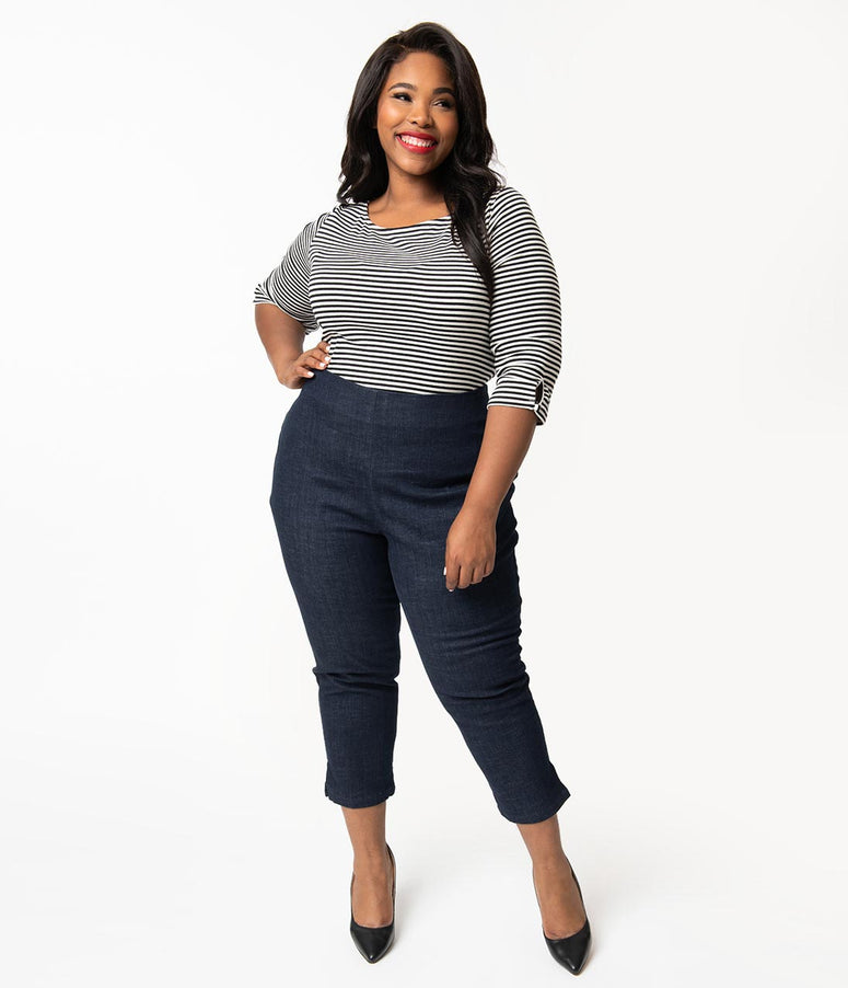 Unique Vintage Plus Size Denim Blue High Waist Rachelle Capri Pants