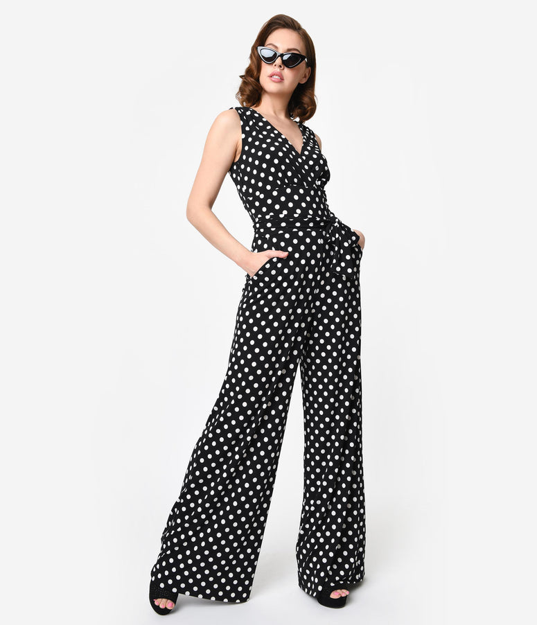 Unique Vintage Black & White Polka Dot Sleeveless Knit Montgomery Jumpsuit