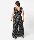 Unique Vintage Plus Size Black & White Polka Dot Sleeveless Knit Montgomery Jumpsuit