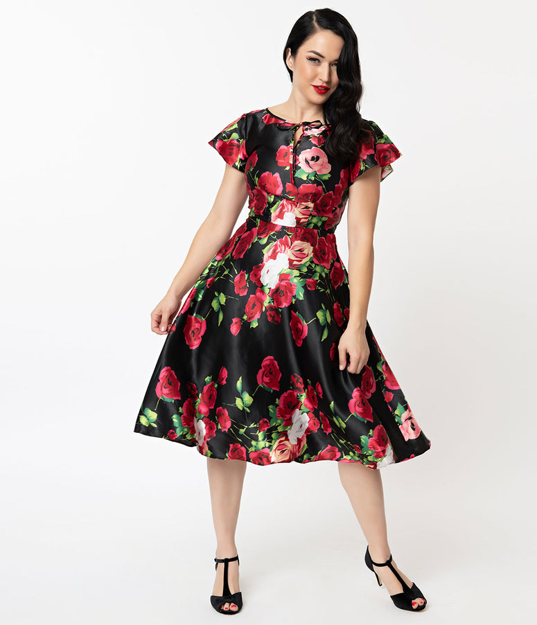 Unique Vintage 1940s Black & Red Floral Cap Sleeve Formosa Dress