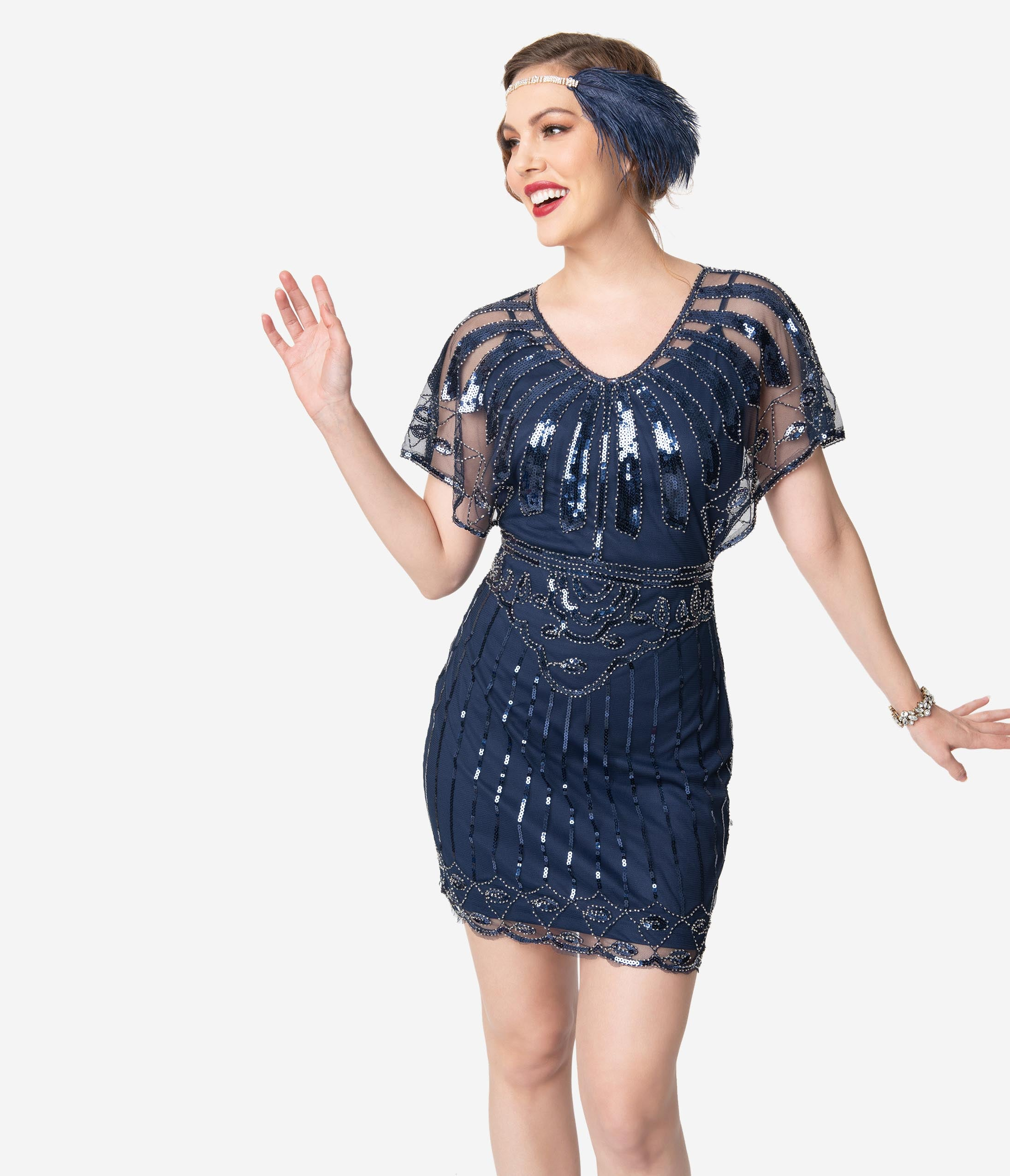 Roaring 20s Costumes- Flapper Costumes, Gangster Costumes Unique Vintage Navy Blue Beaded Angel Sleeve Oxsana Flapper Dress $98.00 AT vintagedancer.com