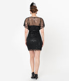 Unique Vintage Black Beaded Angel Sleeve Oxsana Flapper Dress