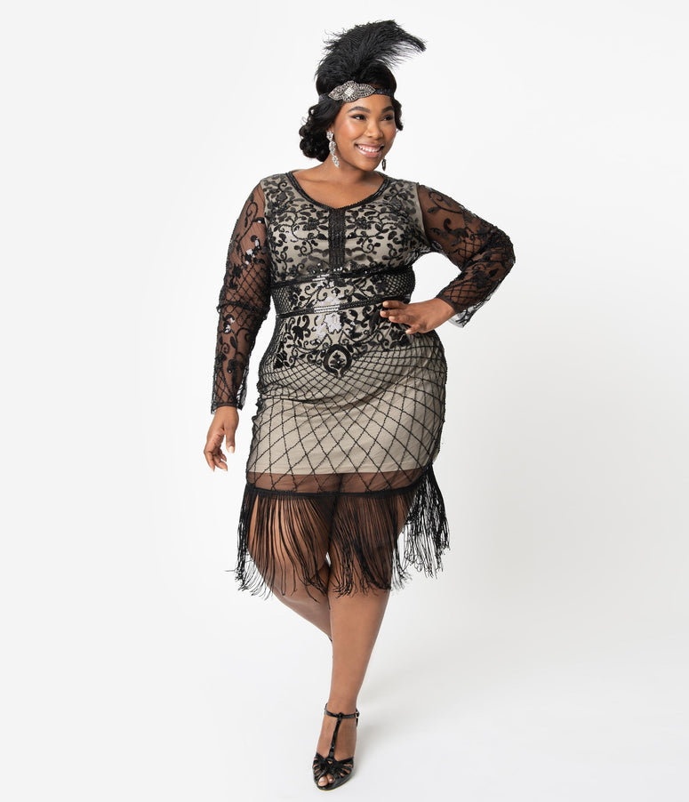 Unique Vintage Plus Size Black & Beige Sleeved Fringe Saint Martin Flapper Dress