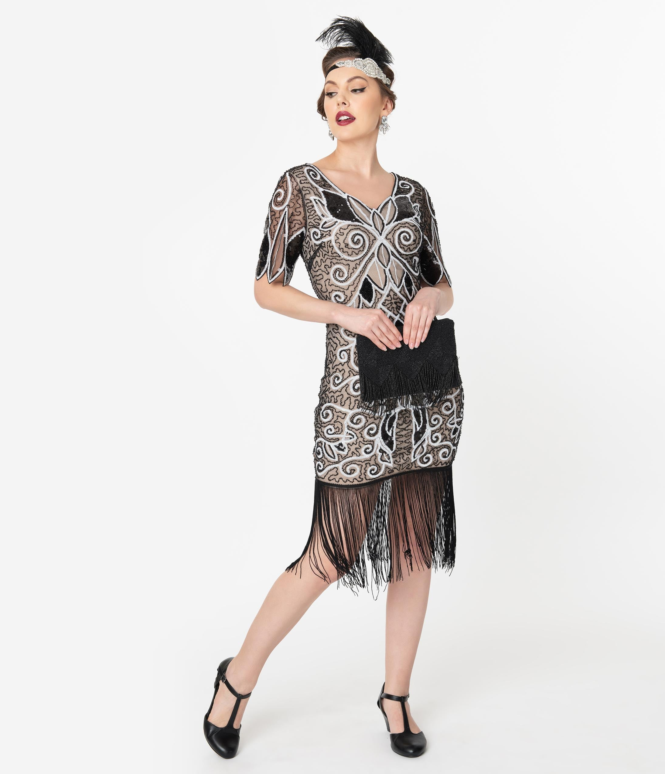 Great Gatsby Dress – Great Gatsby Dresses for Sale Unique Vintage 1920S Style Black  White Sequin Florent Flapper Dress $98.00 AT vintagedancer.com