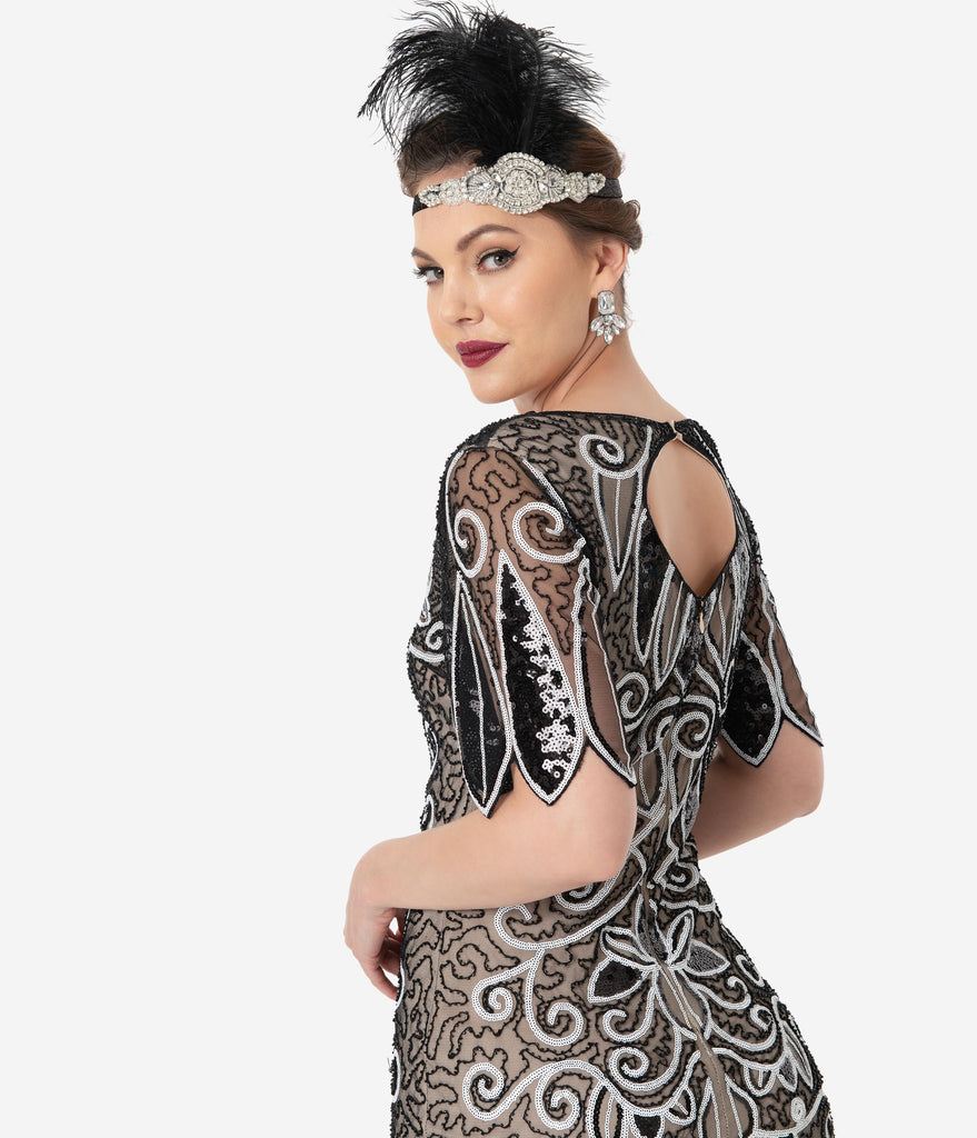 Unique Vintage 1920s Style Black & White Sequin Florent Flapper Dress