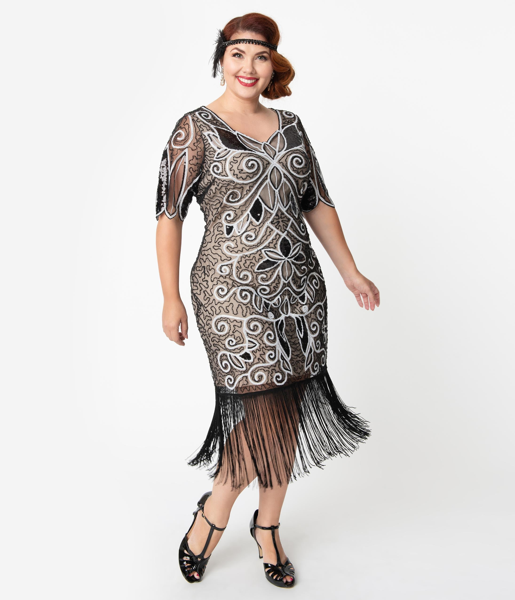 1920s Plus Size Flapper Dresses, Gatsby Dresses, Flapper Costumes Unique Vintage Plus Size 1920S Style Black  White Sequin Florent Flapper Dress $98.00 AT vintagedancer.com