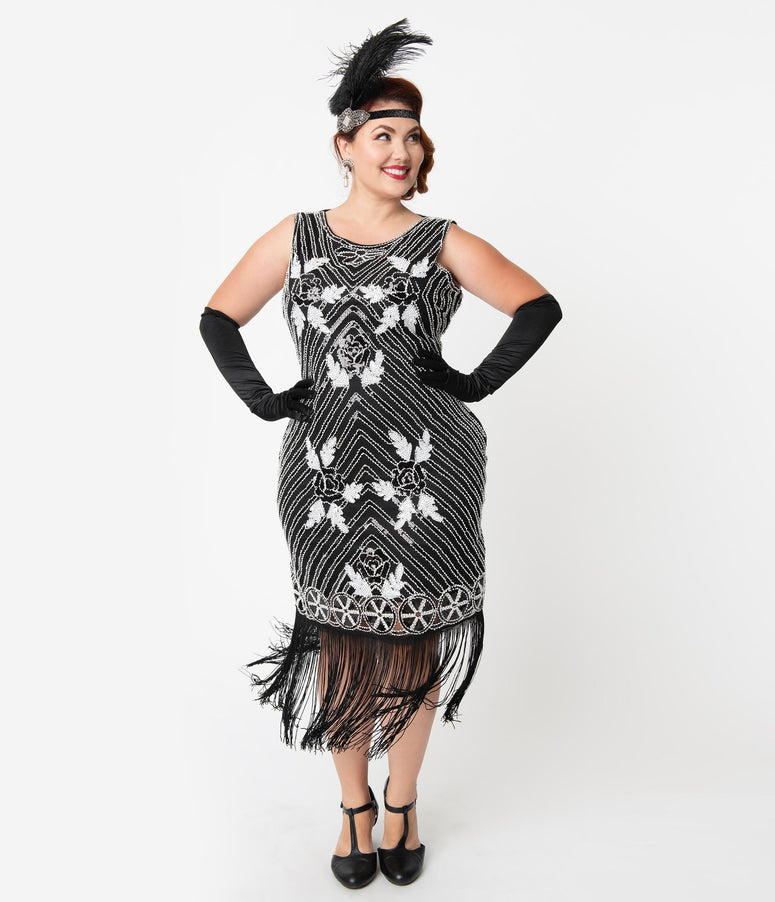 Unique Vintage Plus Size Deco Black & White Beaded Fortunee Fringe Flapper Dress