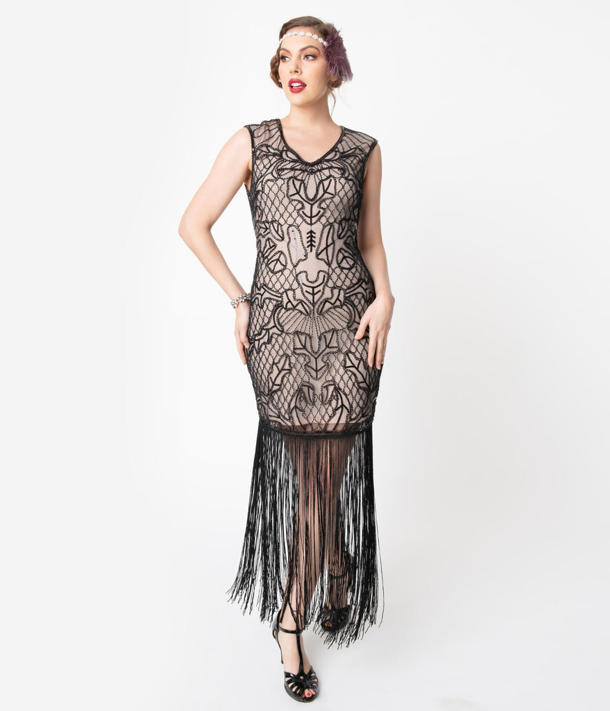 Unique Vintage 1920s Pink & Black Beaded Myriam Long Cocktail Dress