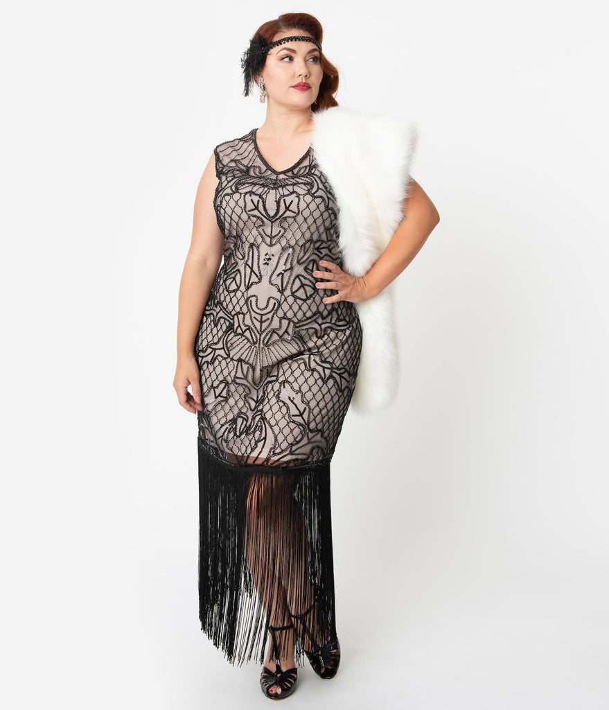 Unique Vintage Plus Size 1920s Pink & Black Beaded Myriam Long Cocktail Dress
