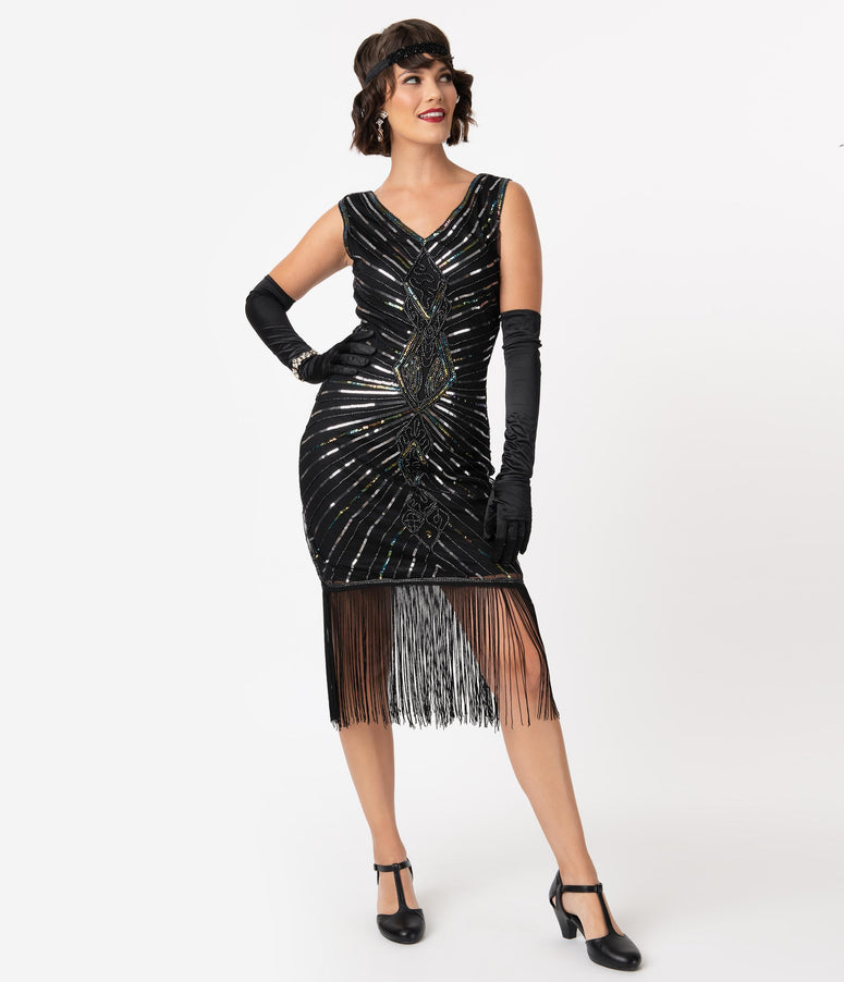 Unique Vintage Black & Silver Sequin Dacquoise Cocktail Flapper Dress