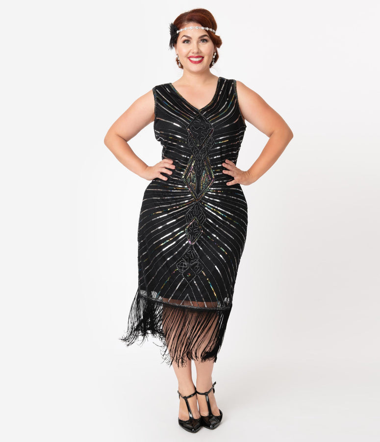 Unique Vintage Plus Size Black & Silver Sequin Dacquoise Cocktail Flapper Dress