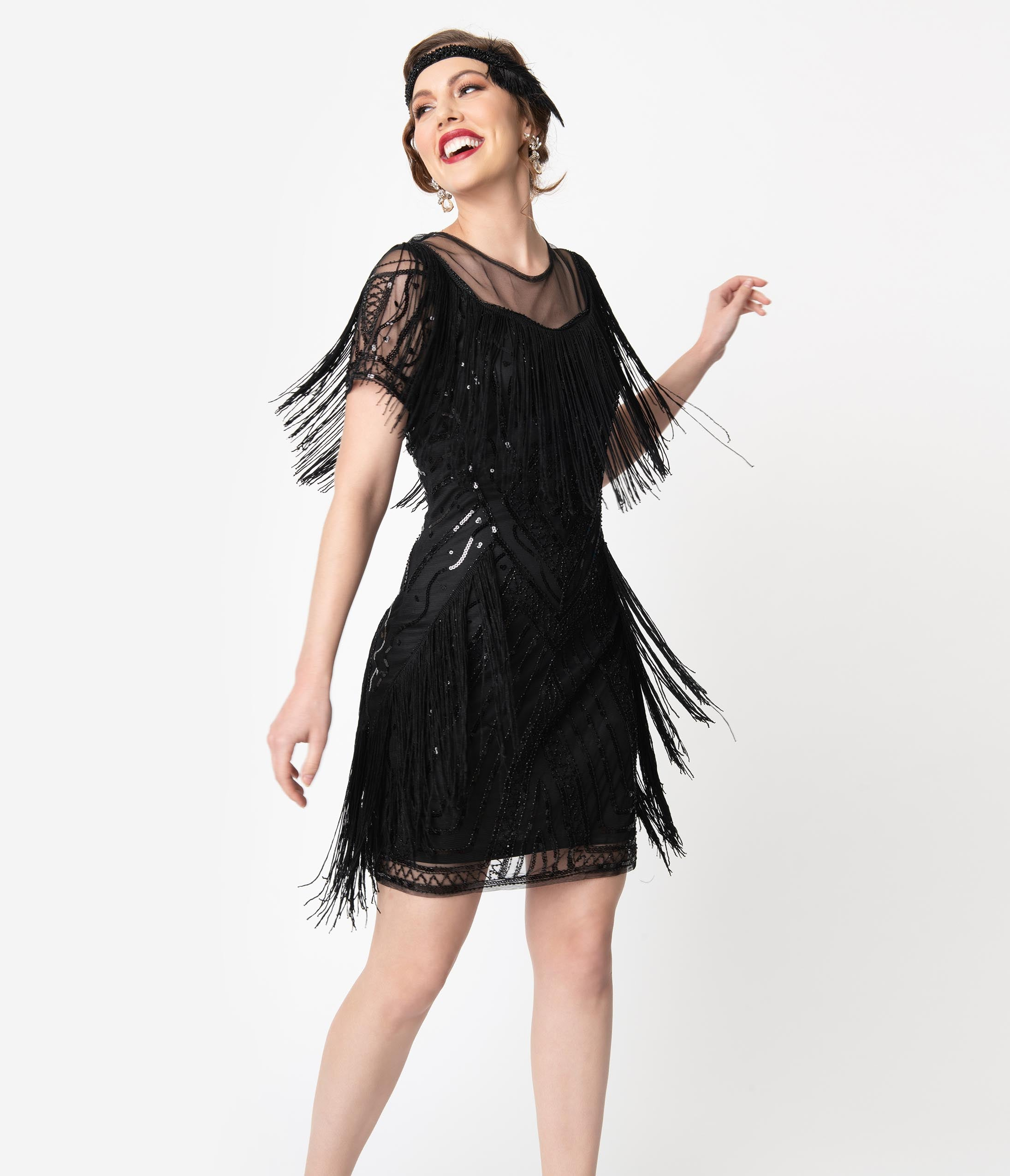 Flapper Dresses & Quality Flapper Costumes Unique Vintage Black Beaded Sleeve Fringe Le Havre Cocktail Flapper Dress $98.00 AT vintagedancer.com