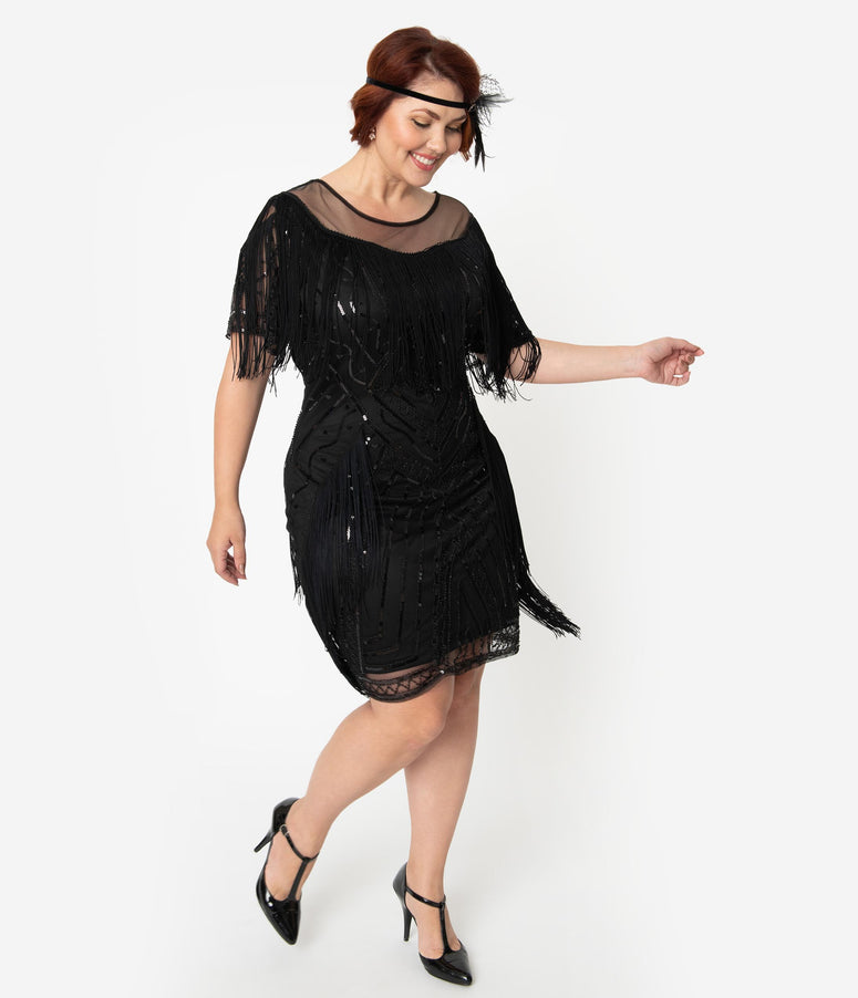 Unique Vintage Plus Size Black Beaded Sleeve Fringe Le Havre Cocktail Flapper Dress