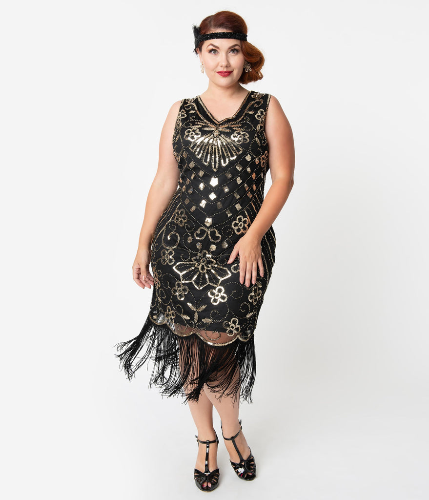 Unique Vintage Plus Size Deco Style Black & Gold Sequin Laurentine Fringe Flapper Dress