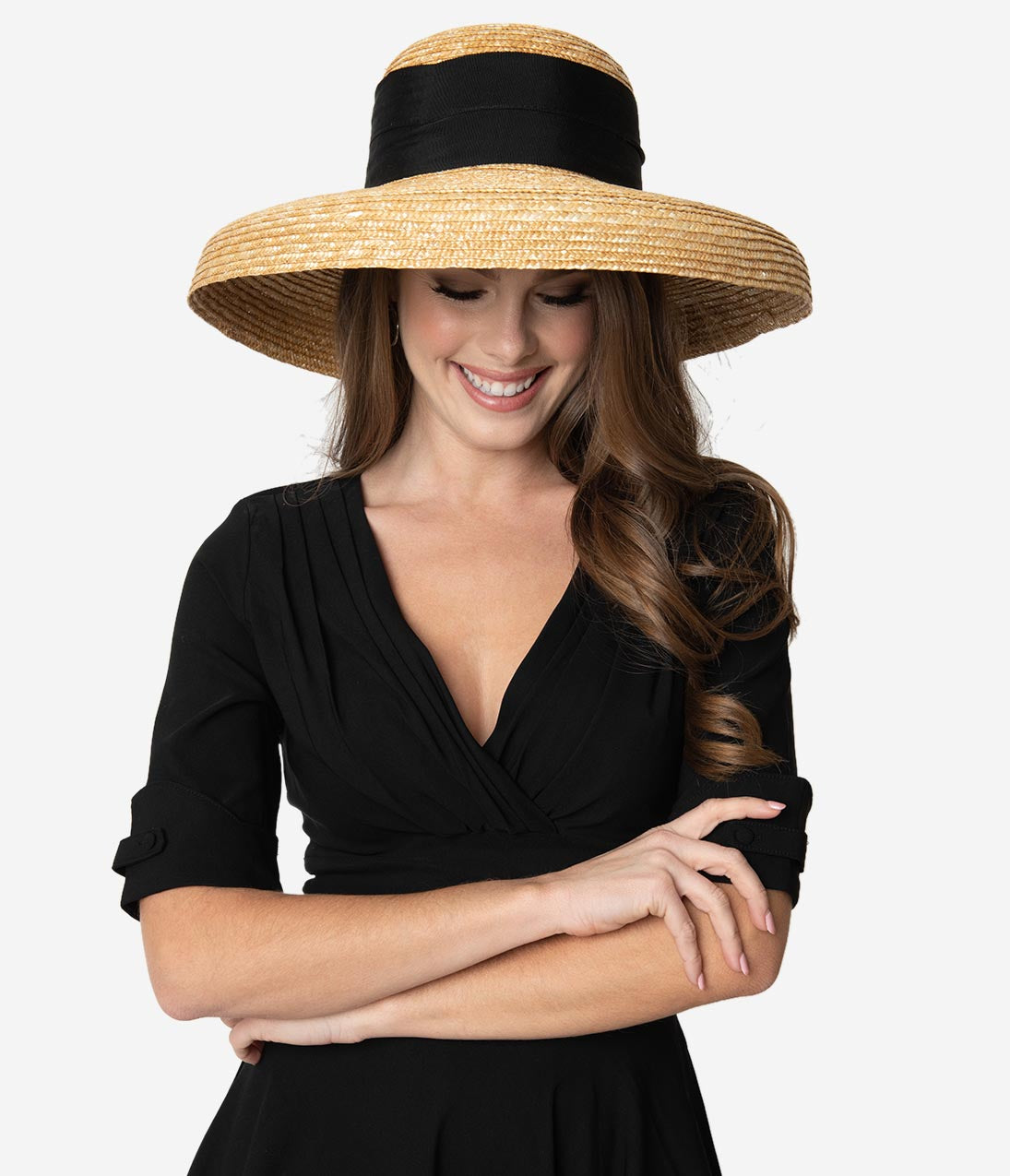 1950s Women's Hat Styles & History Vintage Style Tan  Black Ribbon Bell Brim Straw Hat $52.00 AT vintagedancer.com