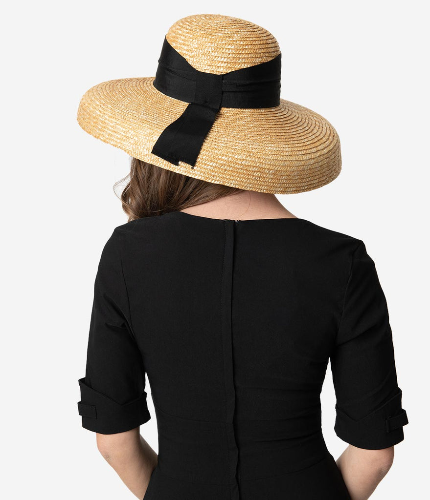 Vintage Style Tan & Black Ribbon Bell Brim Straw Hat
