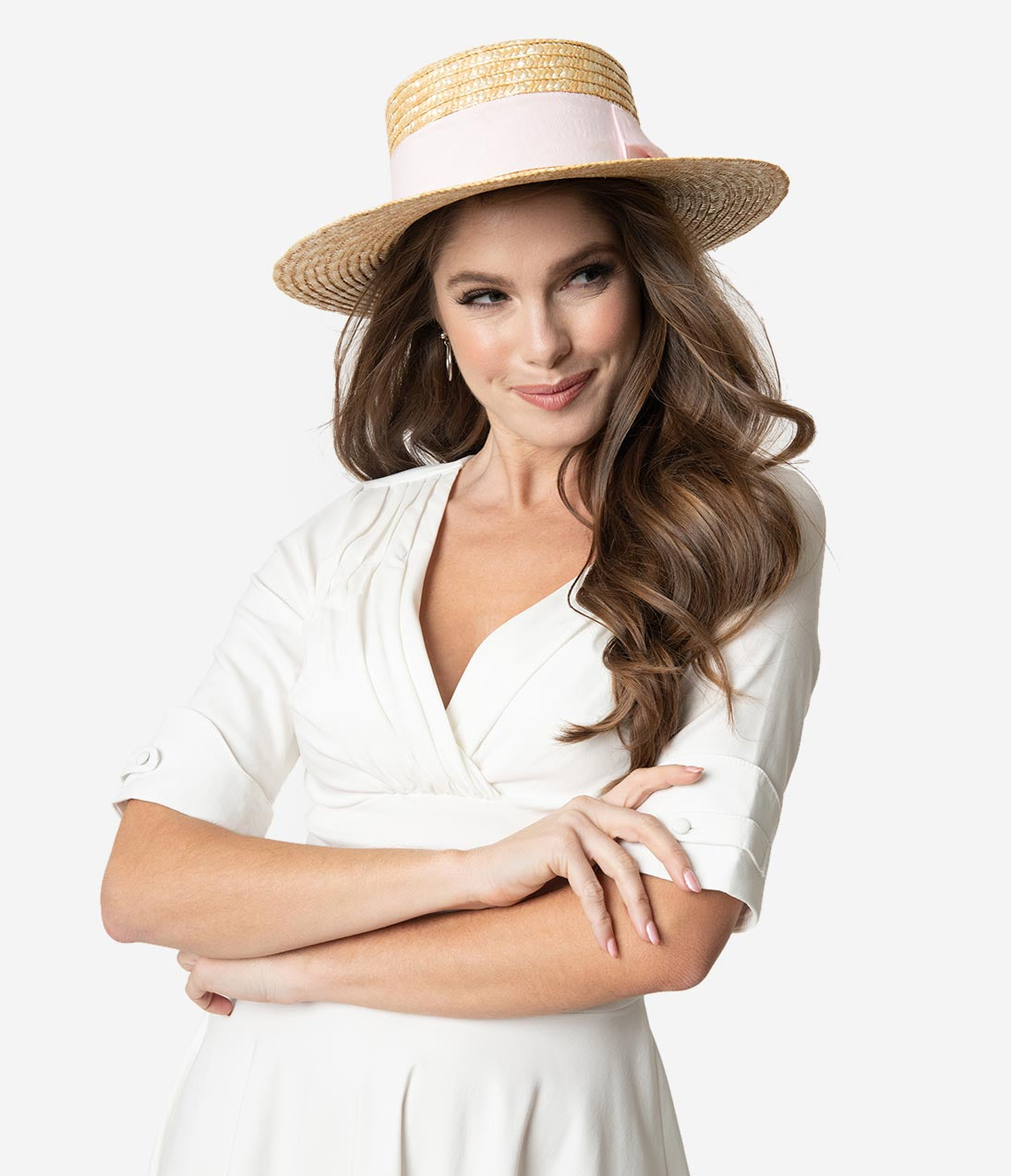 1950 Style Clothing- A Shopping Guide Vintage Style Pink Ribbon Straw Boater Hat $32.00 AT vintagedancer.com
