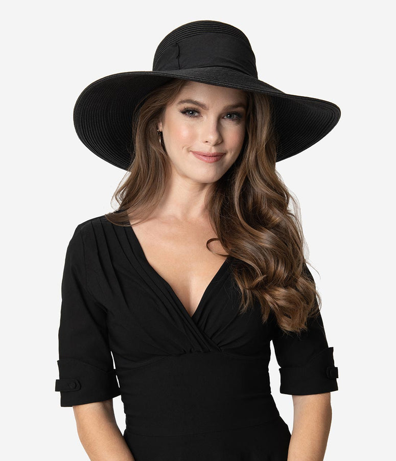 Black Braided Wide Brim Fabric Bow Sun Hat