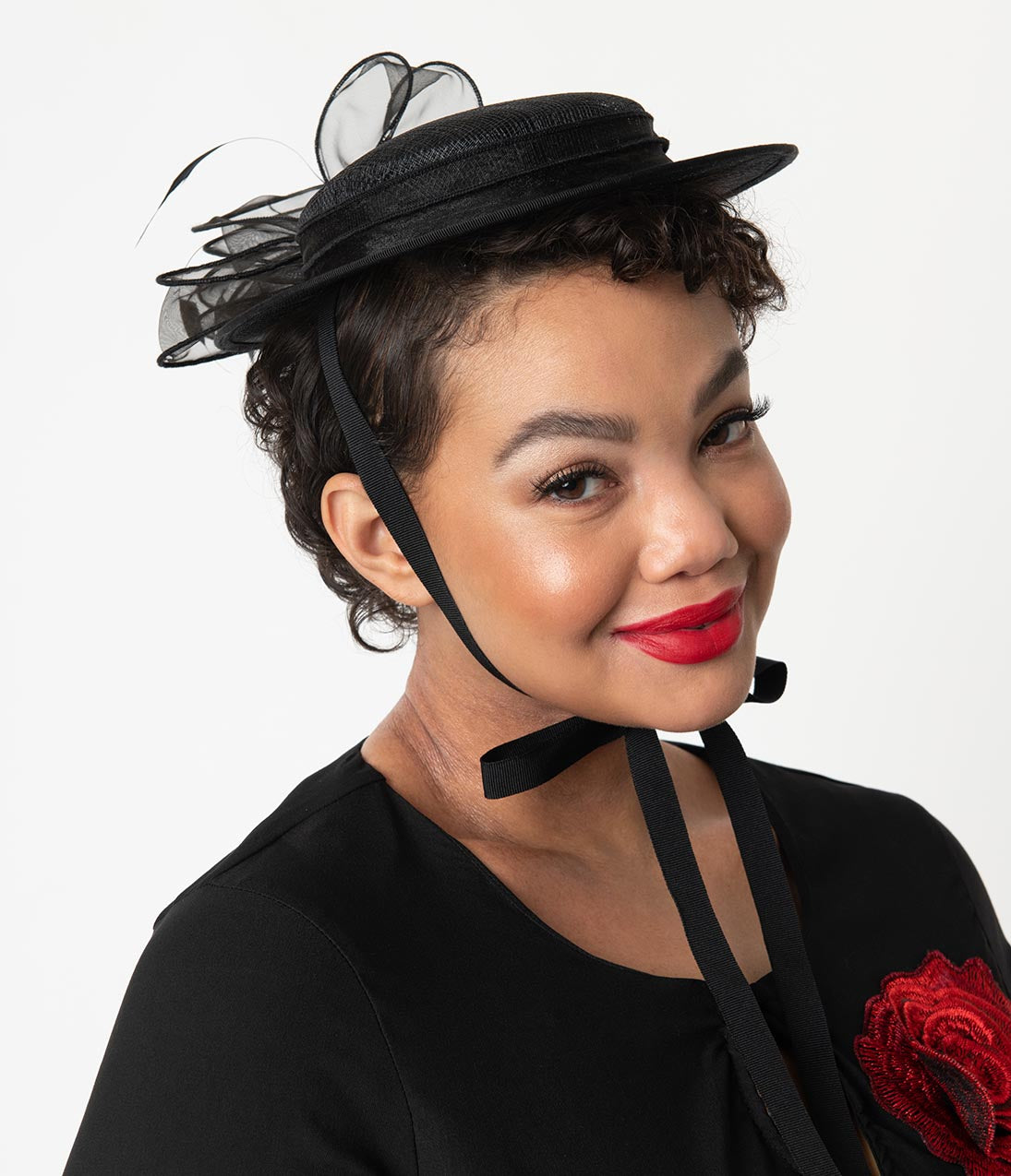 1940s Hats History Vintage Style Black Sinamay Ribbon Disc Fascinator $48.00 AT vintagedancer.com