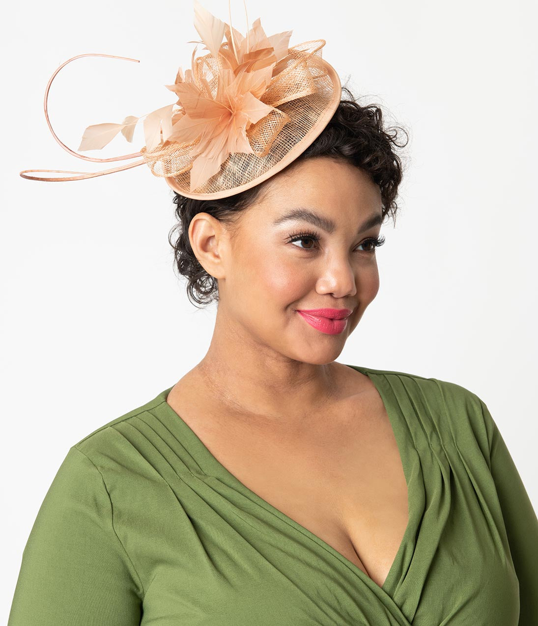 1950s Women's Hat Styles & History 1950S Style Blush Tan Feather Floral Sinamay Fascinator $36.00 AT vintagedancer.com