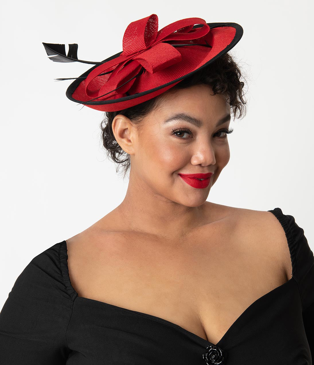 1950s Women s Hat Styles   History Red Sinamay Black Trim Feather Oversized  Fascinator  34.00 AT vintagedancer eca5c214a