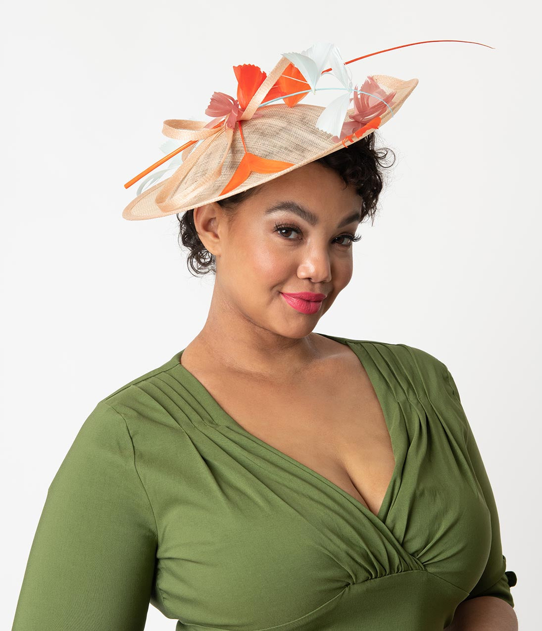 1950s Women's Hat Styles & History Vintage Style Blush Sinamay Coque Feather Disc Fascinator $54.00 AT vintagedancer.com