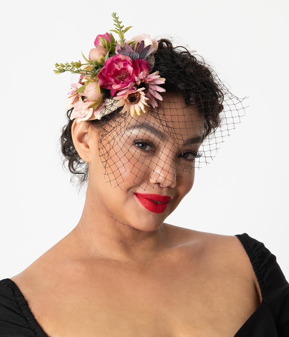 d37350325be46 Multicolor Floral Birdcage Veil Sinamay Fascinator