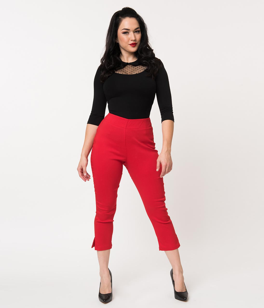 1950s Pants History for Women Unique Vintage Red High Waist Rachelle Capri Pants $48.00 AT vintagedancer.com