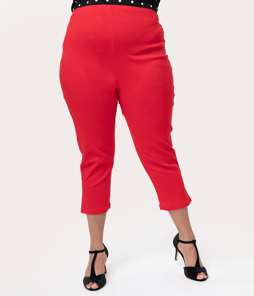 a1d113cb170 Unique Vintage Plus Size Red High Waist Rachelle Capri Pants