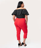 Unique Vintage Plus Size Red High Waist Rachelle Capri Pants