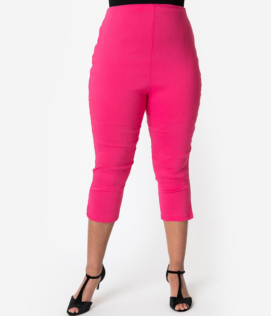 b12aa665f71 Unique Vintage Plus Size Hot Pink High Waist Rachelle Capri Pants