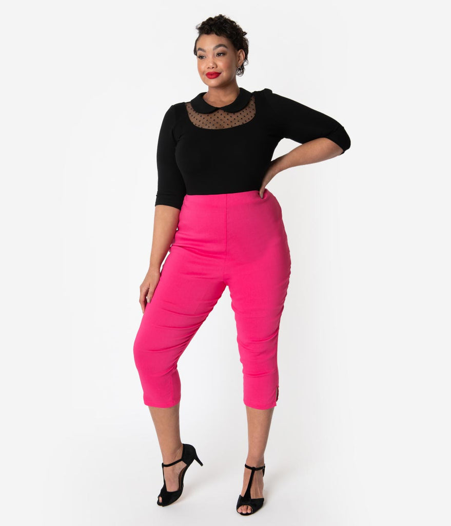 temperament shoes most reliable cheap sale Unique Vintage Plus Size Hot Pink High Waist Rachelle Capri Pants