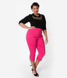 Unique Vintage Plus Size Hot Pink High Waist Rachelle Capri Pants