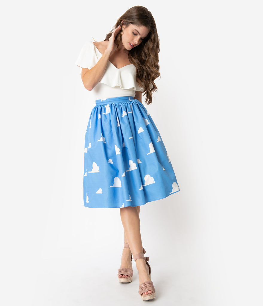 Unique Vintage Light Blue & White Cloud Print High Waist Swing Skirt
