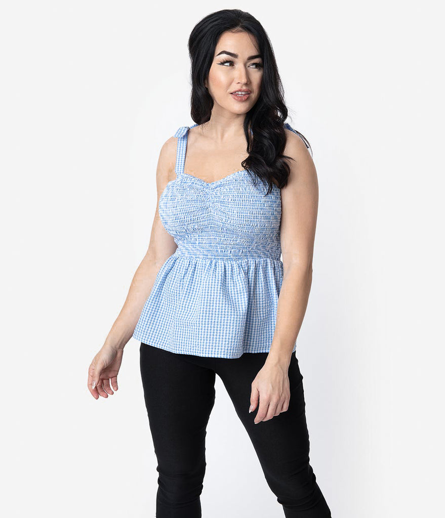 Unique Vintage Blue & White Gingham Seersucker Bitsy Peplum Top