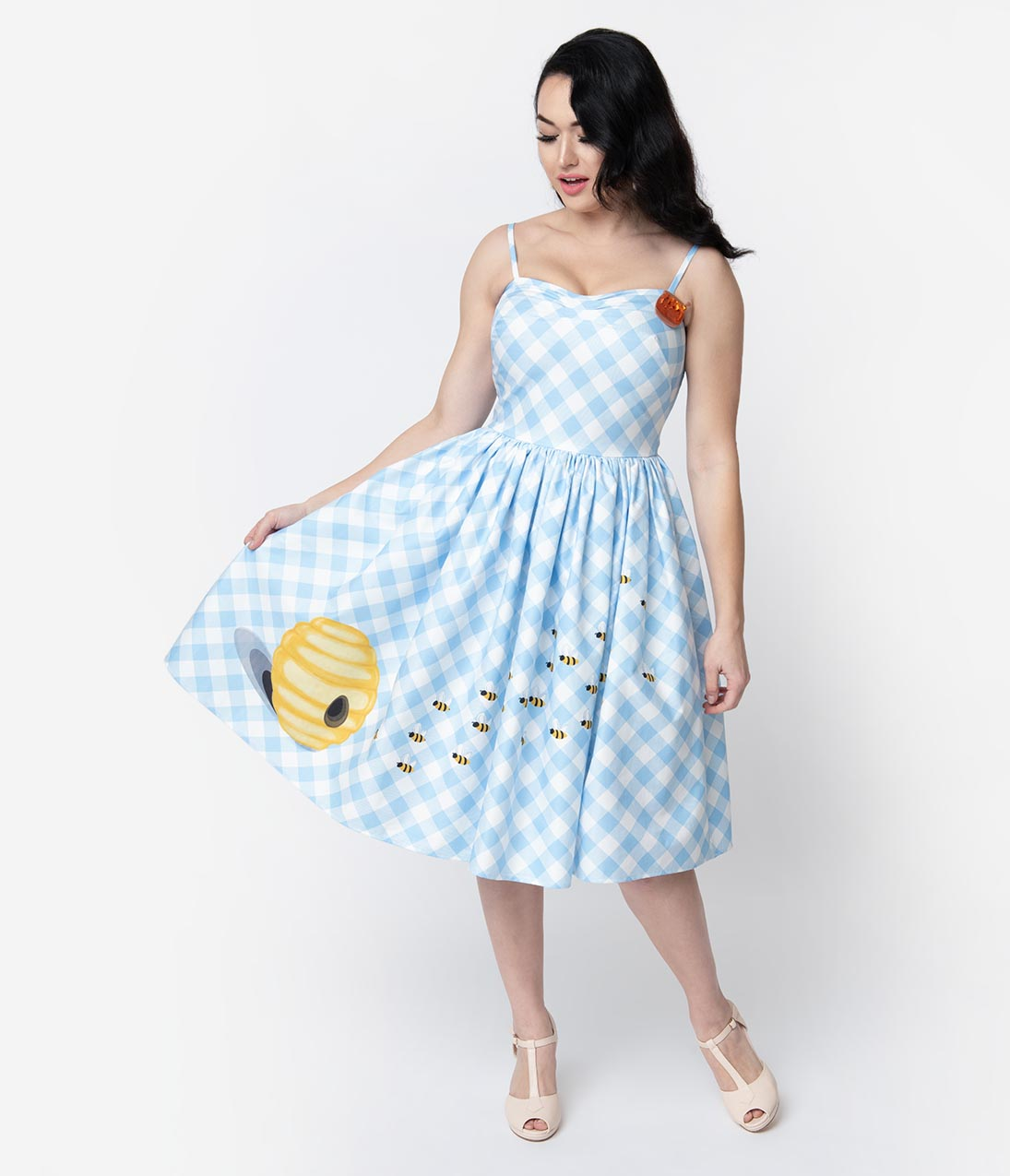 b372f1e9cf3 Unique Vintage 1950s Style Blue   White Gingham Bumblebee Darcy Swing Dress