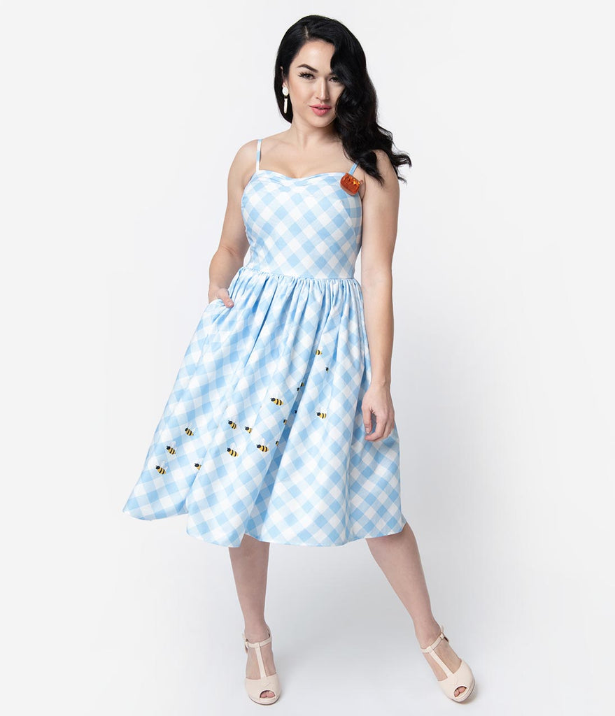 Unique Vintage 1950s Style Blue & White Gingham Bumblebee Darcy Swing Dress