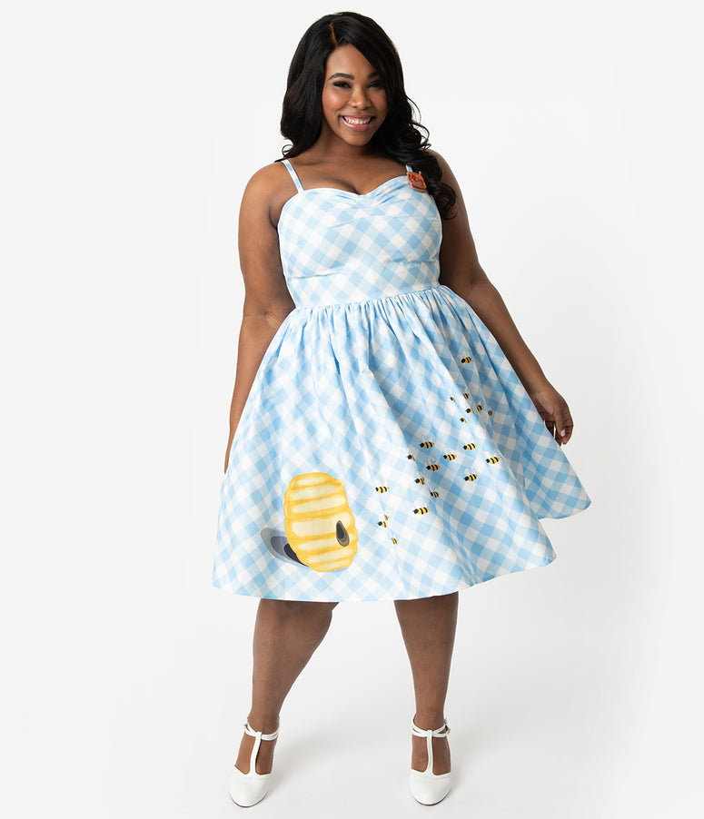 7aa162cbd4 Unique Vintage Plus Size 1950s Style Blue & White Gingham Bumblebee Darcy  Swing Dress
