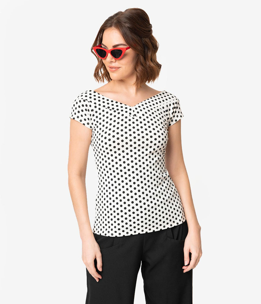 Unique Vintage 1950s Style White & Black Polka Dot Stretch Knit Deena Top