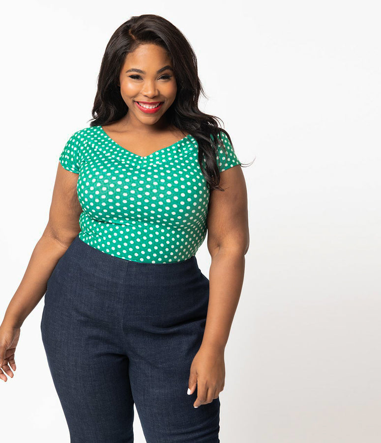 e40b6334e02ee Unique Vintage Plus Size 1950s Style Green   White Polka Dot Stretch Knit  Deena Top