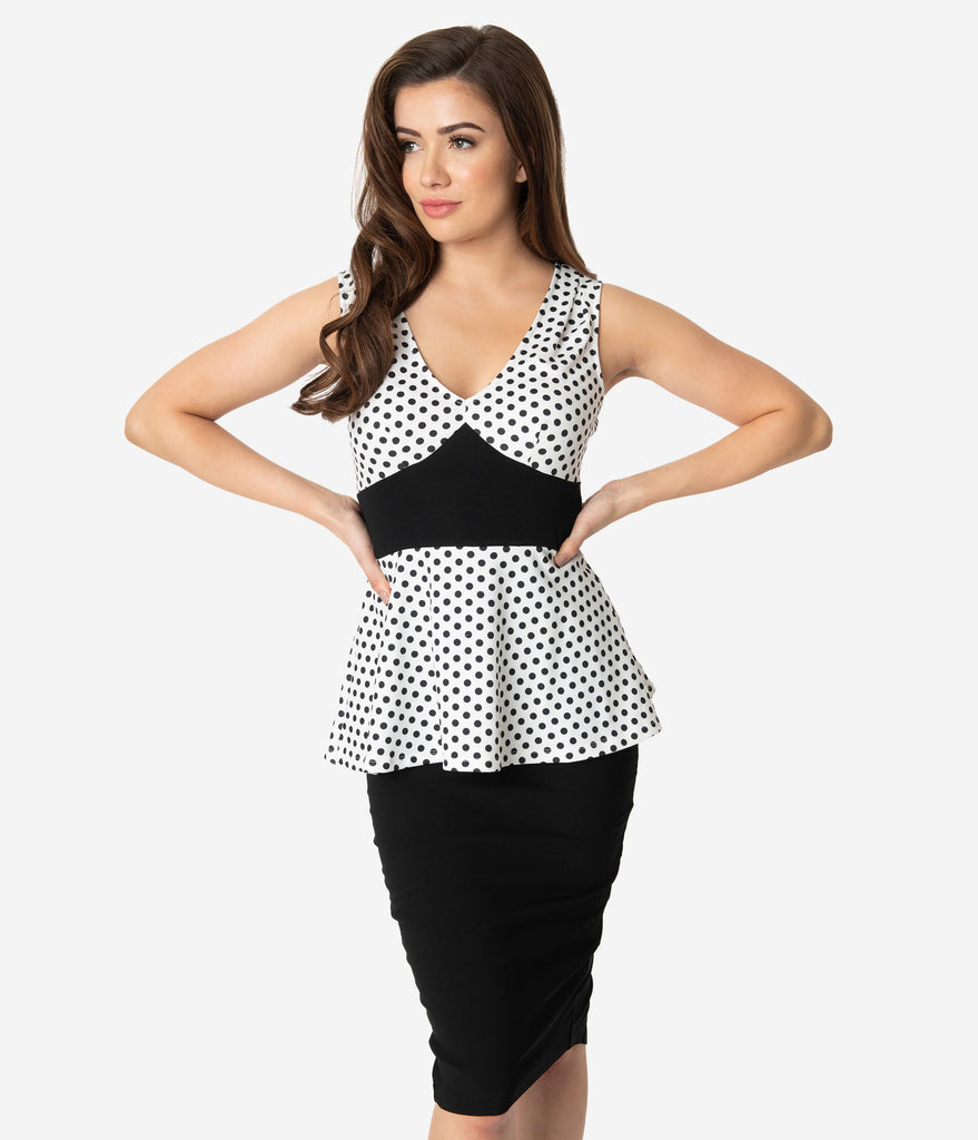 Unique Vintage White & Black Polka Dot Sleeveless Peplum Rue Top
