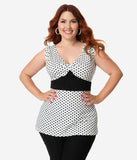 Unique Vintage Plus Size White & Black Polka Dot Sleeveless Peplum Rue Top