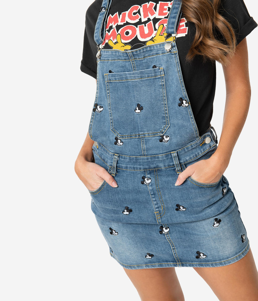 Cakeworthy Blue Denim Disney Mickey Mouse Jean Overalls Dress