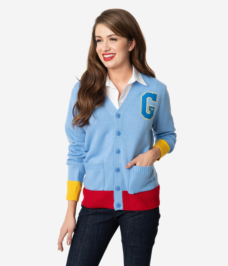 Cakeworthy Blue Knit Long Sleeve Aladdin Genie Varsity Cardigan