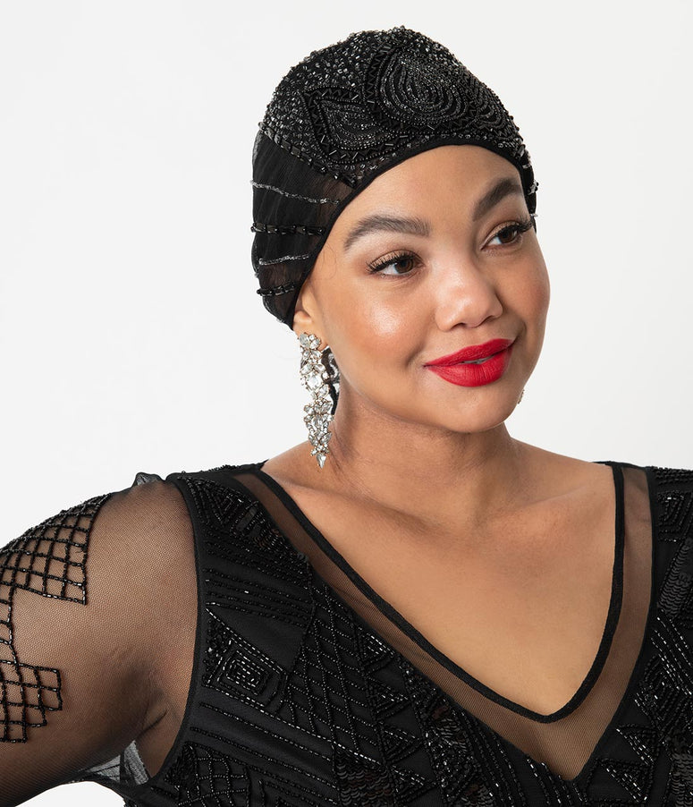 1920s Style Black Beaded Beatrice Mesh Turban