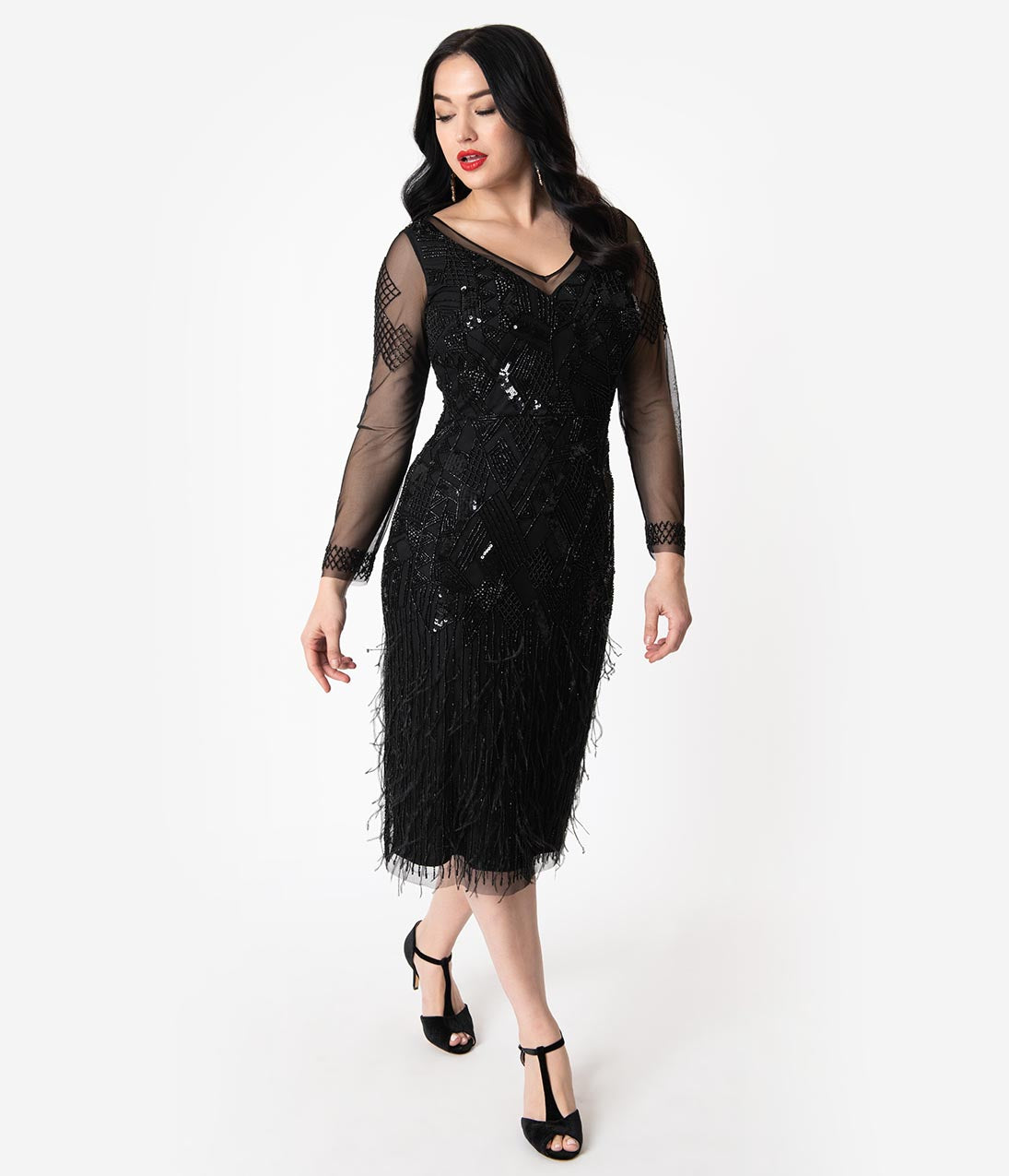 1920s Downton Abbey Dresses 1920S Black Beaded  Feather Long Sleeved Ivy Cocktail Dress $228.00 AT vintagedancer.com