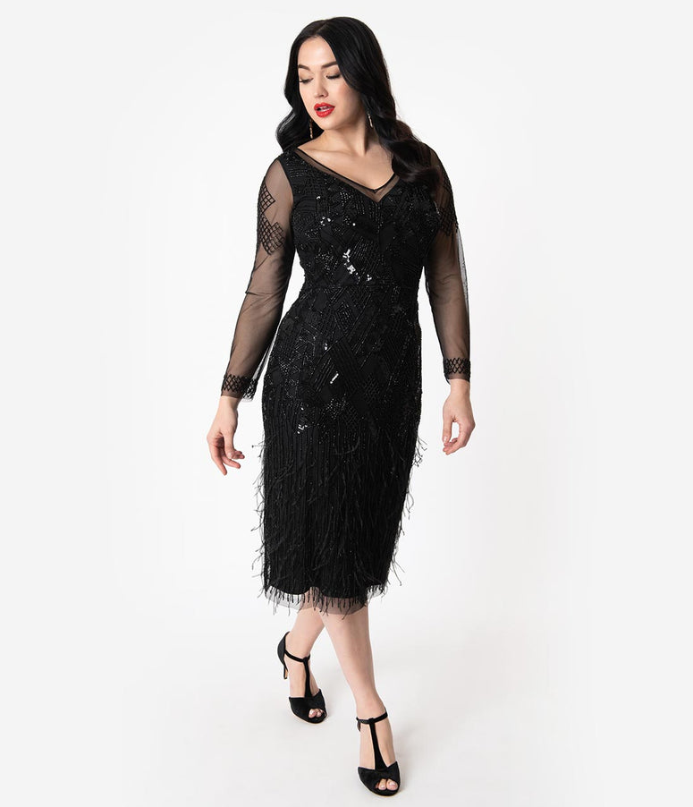 1920s Black Beaded & Feather Long Sleeved Ivy Cocktail Dress