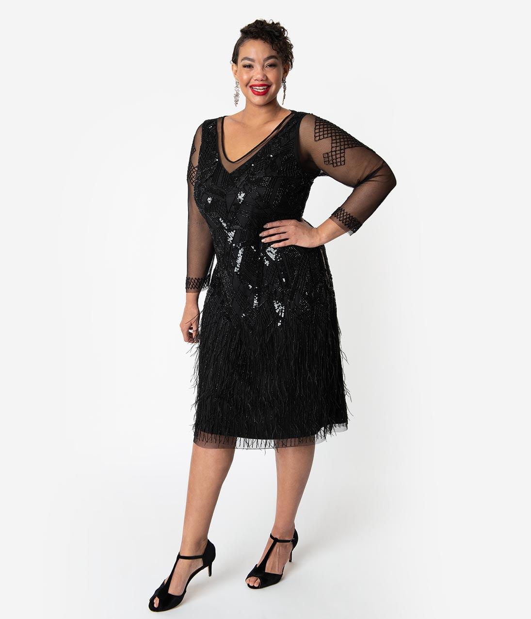 1920s Plus Size Flapper Dresses, Gatsby Dresses, Flapper Costumes Plus Size 1920S Black Beaded  Feather Long Sleeved Ivy Cocktail Dress $228.00 AT vintagedancer.com