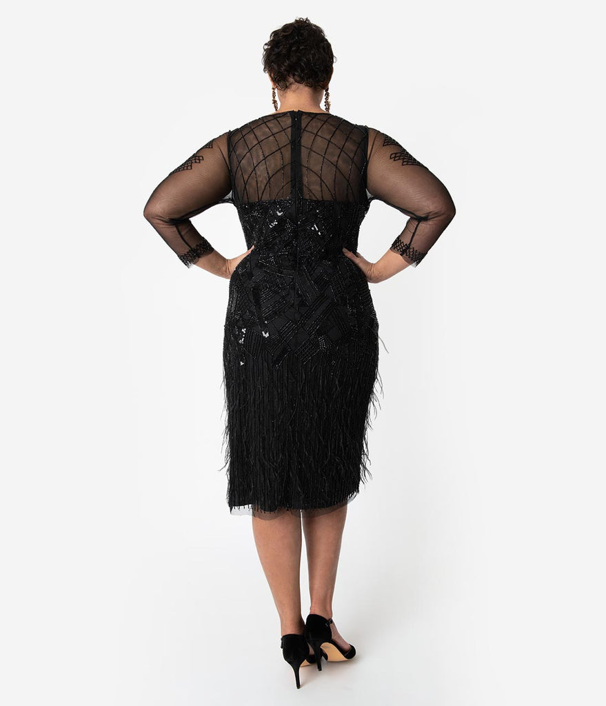 e18f701a24 ... Plus Size 1920s Black Beaded   Feather Long Sleeved Ivy Cocktail Dress  ...