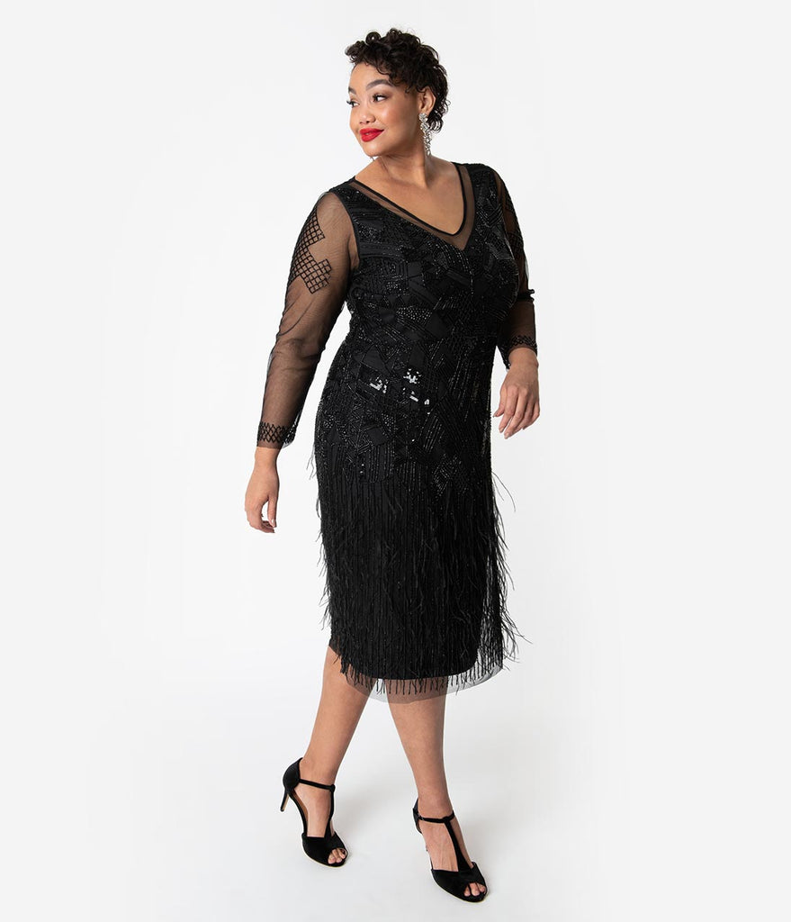 7fce201c4ba29 ... Plus Size 1920s Black Beaded   Feather Long Sleeved Ivy Cocktail Dress  ...